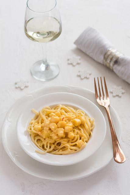 Spaghetti aux pétoncles et safran