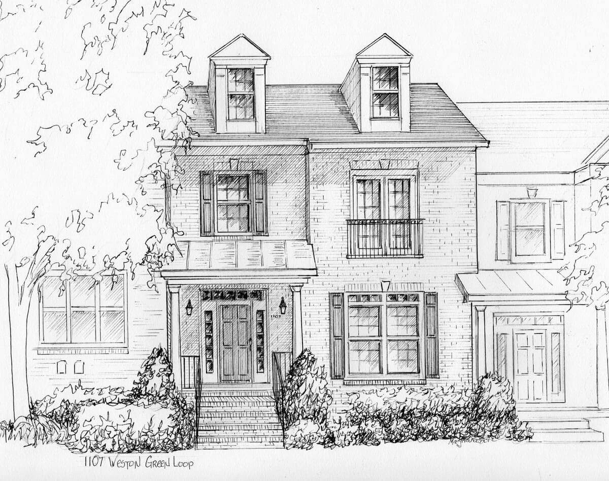 12-Custom-Ink-House-Portrait-Mary-Frances-Smith-Architecture-Expressed-in-House-Drawings-www-designstack-co