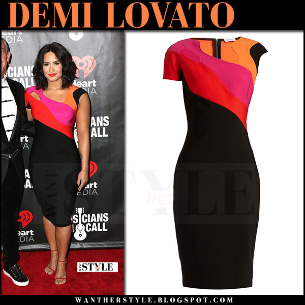 Demi Lovato in black colorblock cutout dress mugler what she wore march 2017