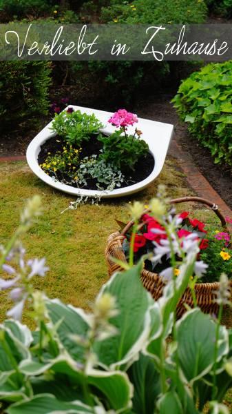 Außergewöhnliche Gartendeko und kreative Upcycling Idee: Das bepflanzte Waschbecken im Garten