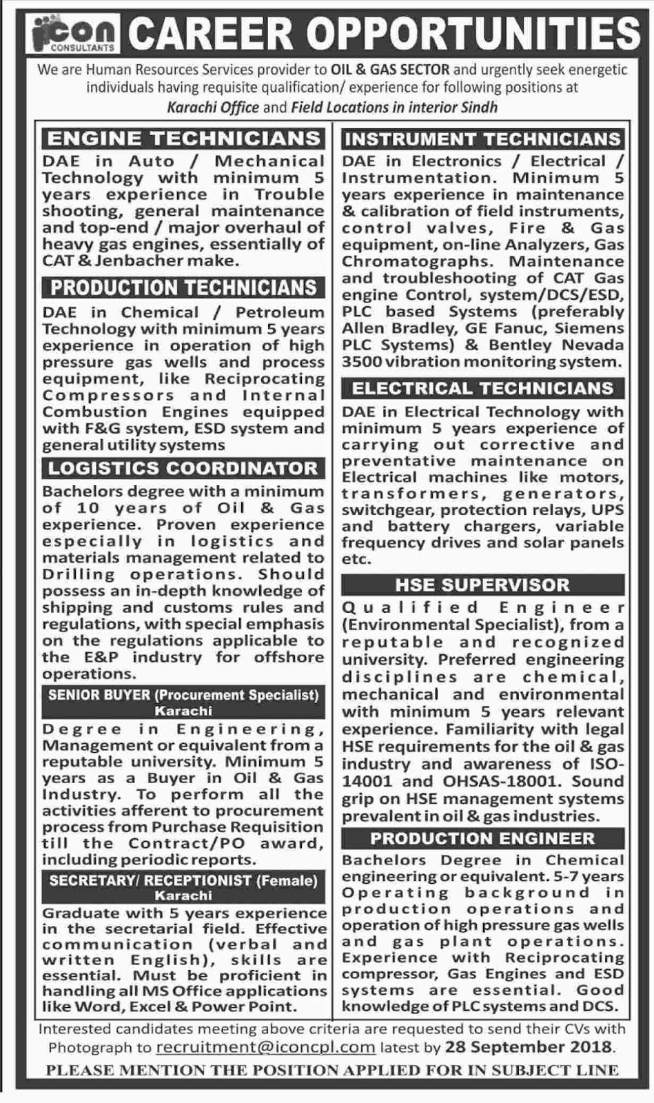 Latest Oil and Gas Sector Karachi , DAE, Bachelor, Master