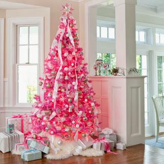 decoración rosa árbol navidad