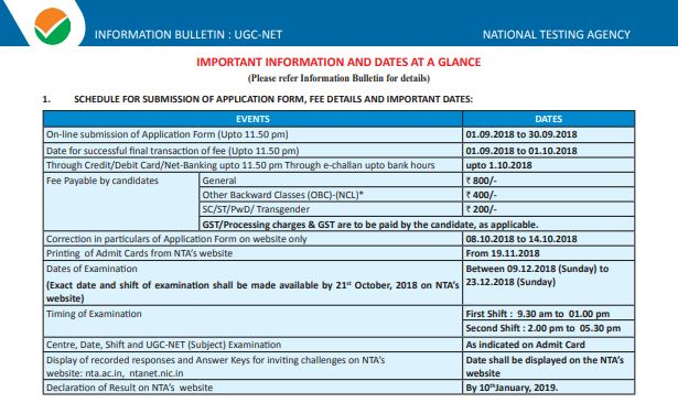 image : UGC NET DEC 2018 Notification, Exam Schedule & Revised Exam Scheme @ cbse-net.in