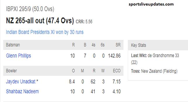 Indian Board Presidents XI Vs New Zealand Match Score Board