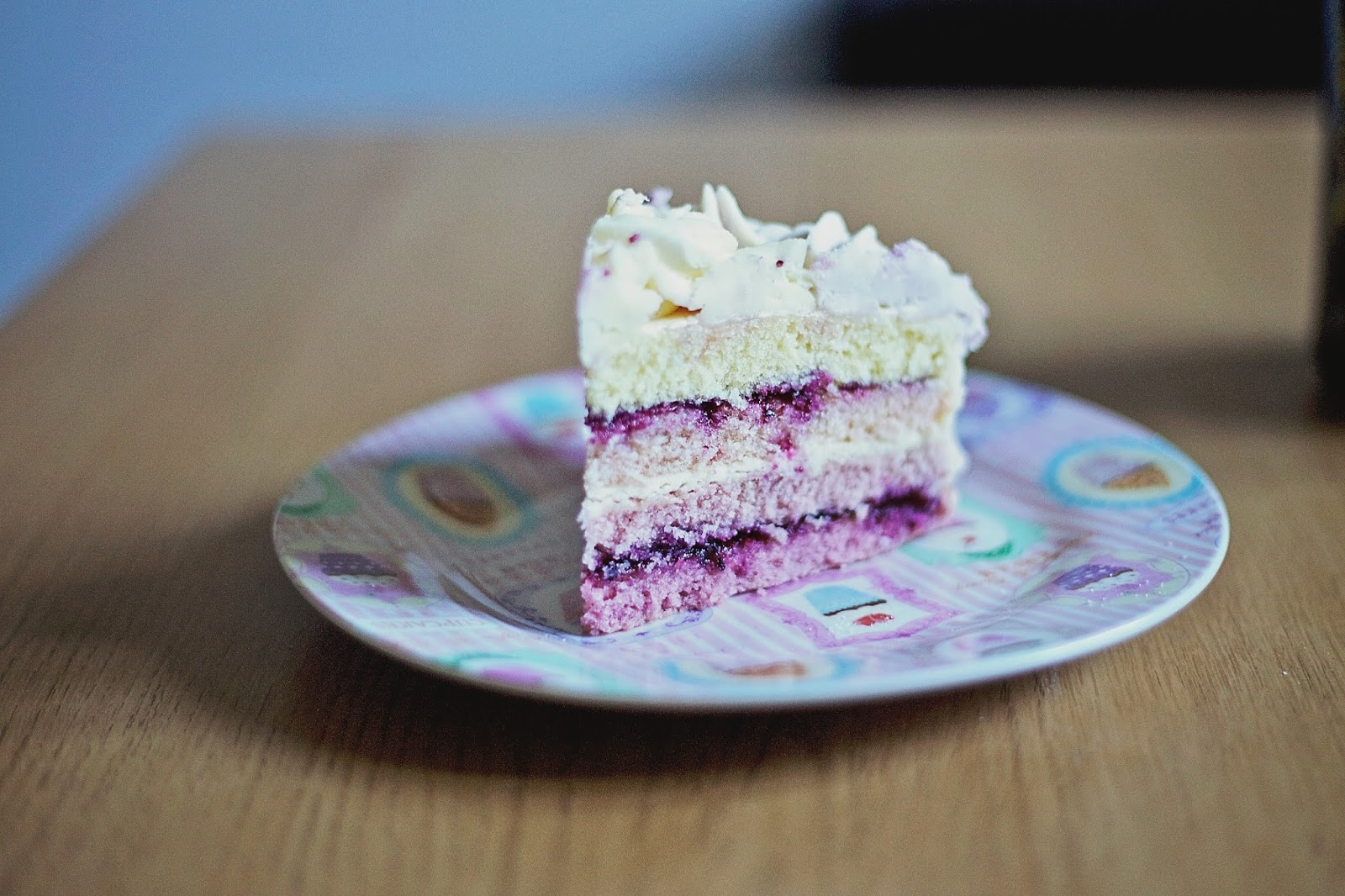 Cross-section slice of ombre cake