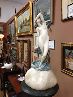 Antique lamp, Art Deco/Nouveau marble sculpture lamp