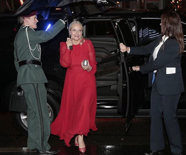 Crown Princess Mette-Marit wore a red color  Velentino Long Gown, dress, Bottega Vaneta Clutch, Acne Lace pumps, shoes, diamond earrings