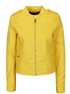 Jacheta piele sintetica galben cumpara aici