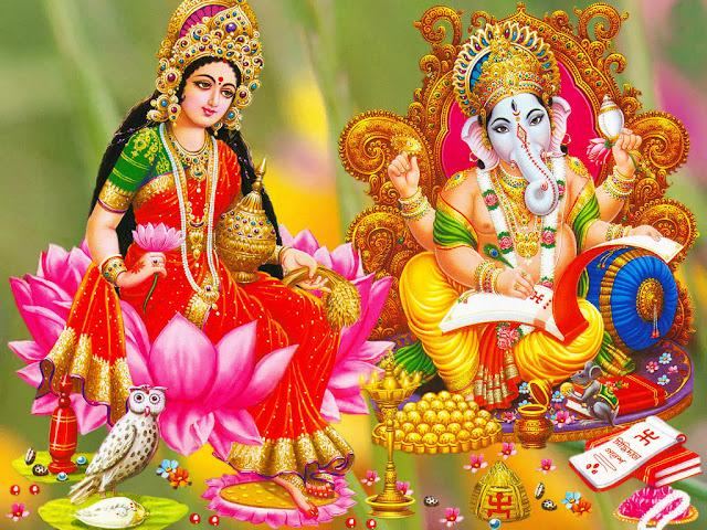 Beautifull  Maa Lakshmi & Ganesha HD Wallpaper