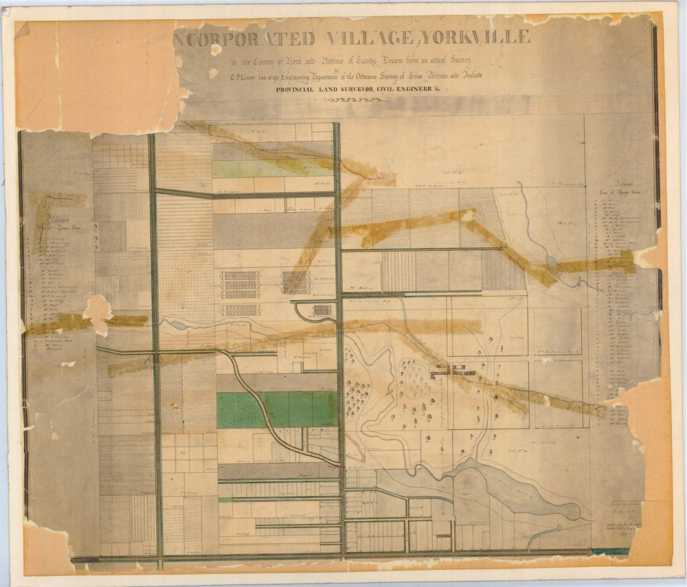 1852 Survey by GP Liddy of the Village of Yorkville