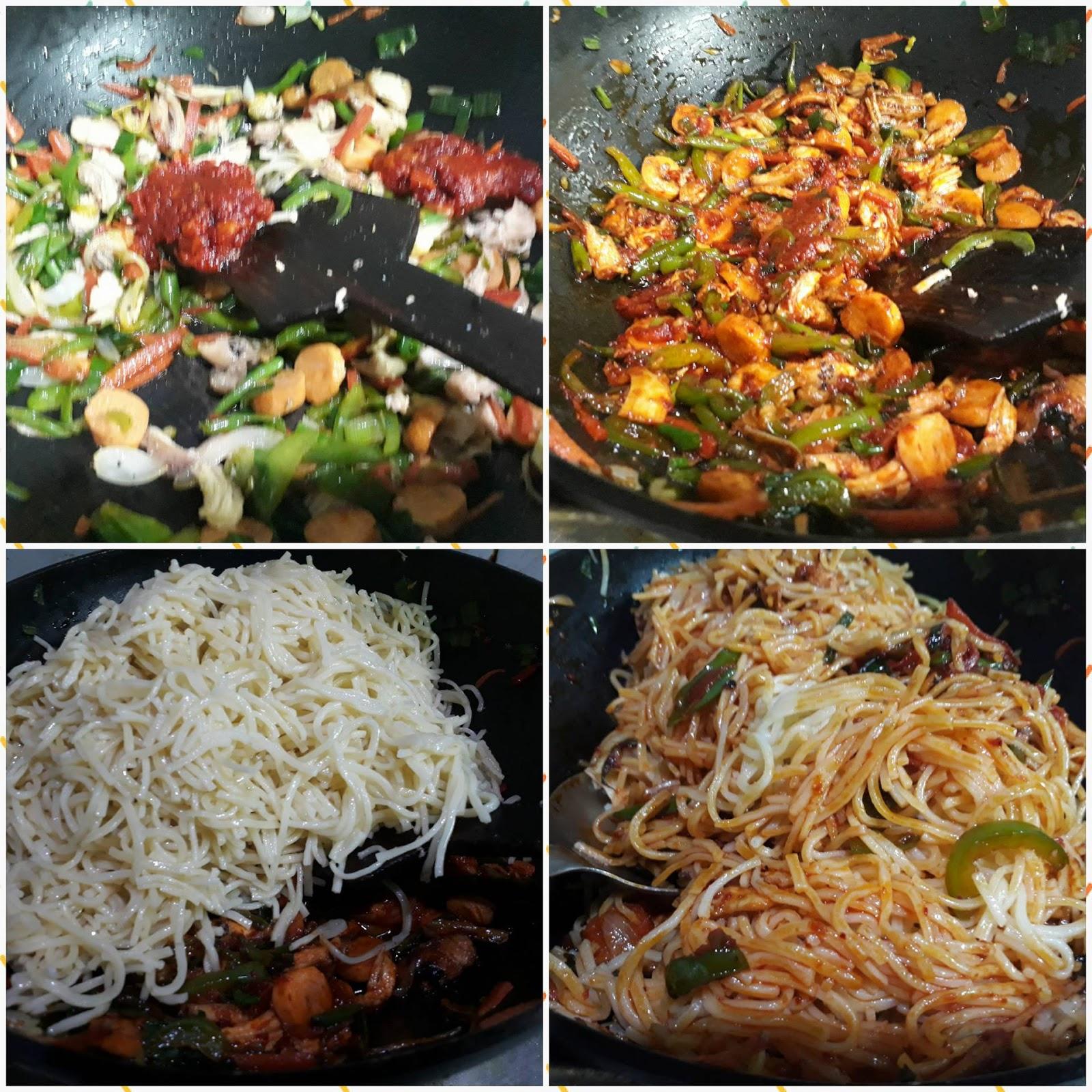 how to make chicken schezwan noodles