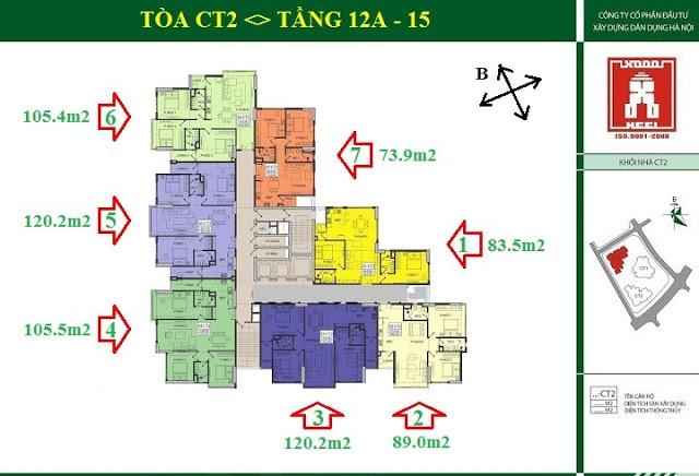 Mặt bằng tầng 12A - 15 tòa CT2 E4 Tower Yên Hòa