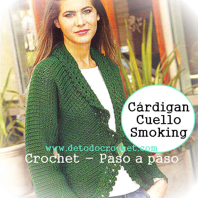 como tejer un cardigan coin cuello smoking