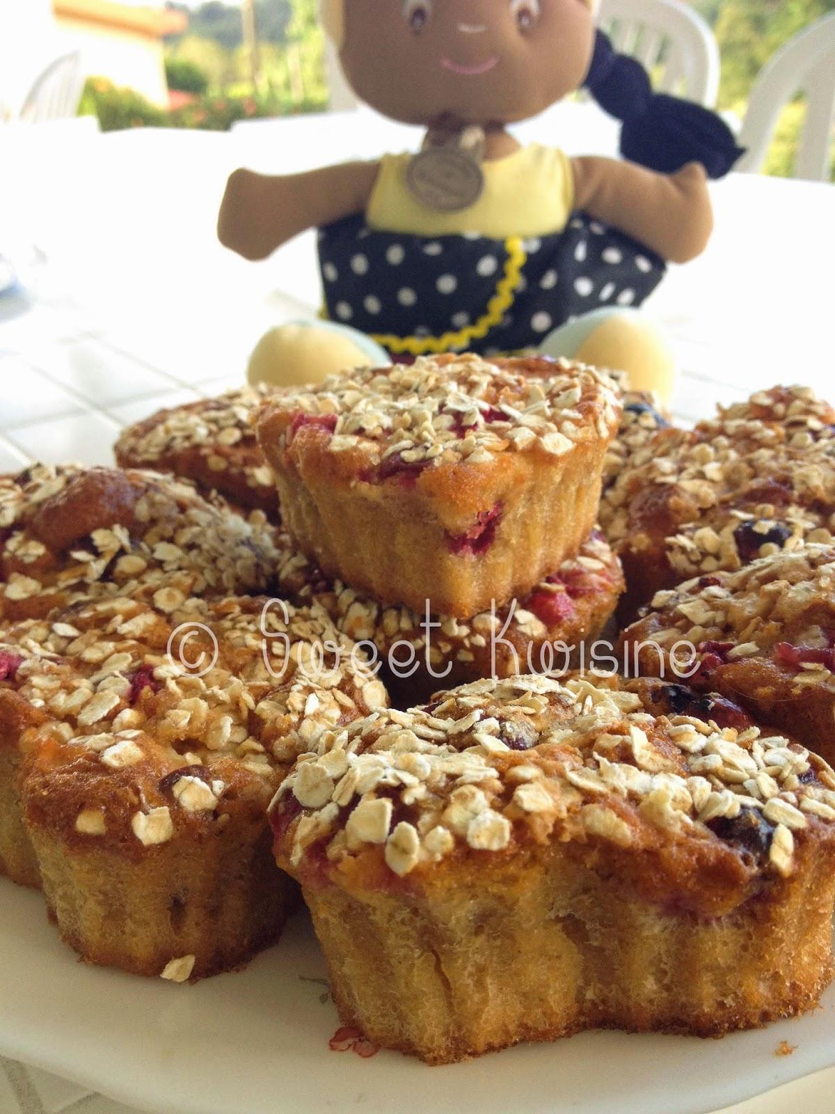 sweet kwisine, muffins, sans beurre, canneberge, airelles, cranberries cuisine légère, pomme, cranberry