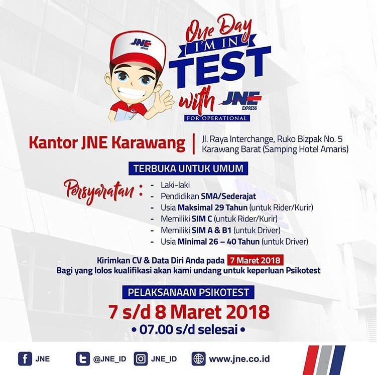 Tes Masuk JNE Untuk Kurir & Driver 7-8 Maret 2018 Domisili Karawang