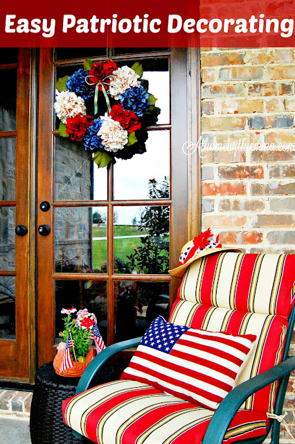 Easy american decor with red, white and blue wreath, pillow, cushion and flower pots