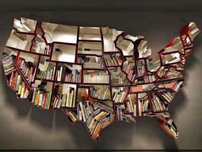 ide desain perpustakaan unik berbentuk peta negara