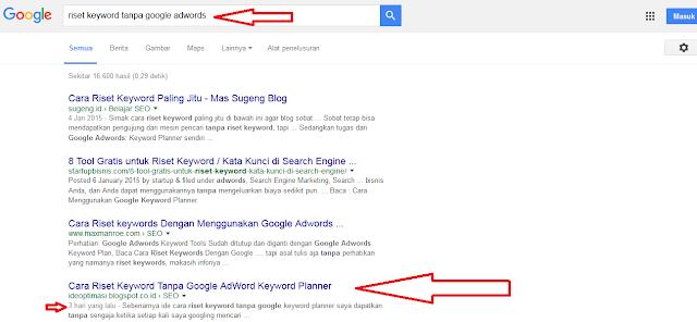 Cara Riset Keyword Tanpa Google AdWord Keyword Planner