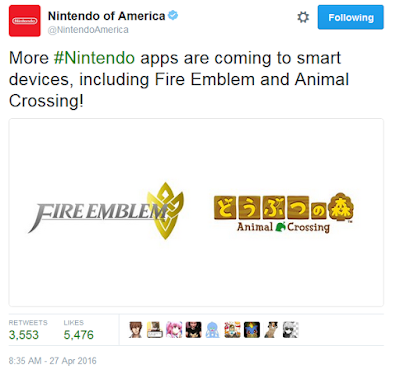 Nintendo smartphone apps Fire Emblem Animal Crossing Twitter announcement