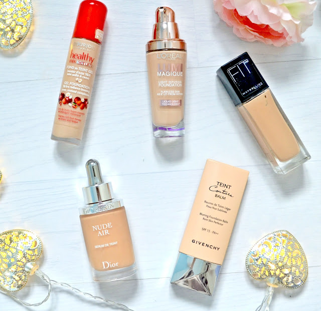 Must have - foundations - dry skin - mature skin - dewy foundation - medium coverage - full coverage - review - makeup - maybelline - fit me foundation - bourjois - heatlhy mix serum - dior - nude air serum - givenchy - teint couture balm - loreal - lumi magique - review