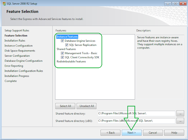 SQL Server 2008 R2 Installation Feature Selection