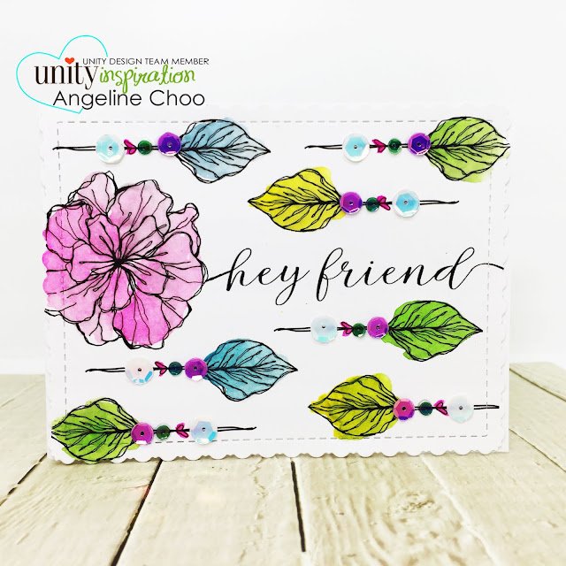 ScrappyScrappy: Unity Stamp & Graciellie Design Blog Hop - Hey Friend #scrappyscrappy #unitystampco #gracielliedesign #card #cardmaking #youtube #quicktipvideo #video  #janedavenport #watercolor #heyfriend #sequins #katscrappiness