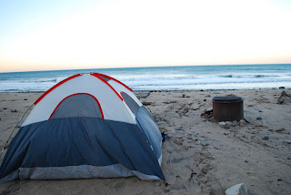 A tent camped in Malibu, Los Angeles County