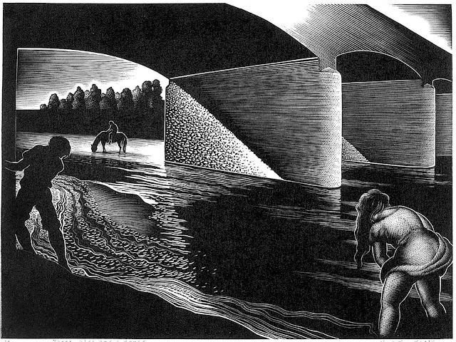 Paul Landacre 1943 scratchboard illustration