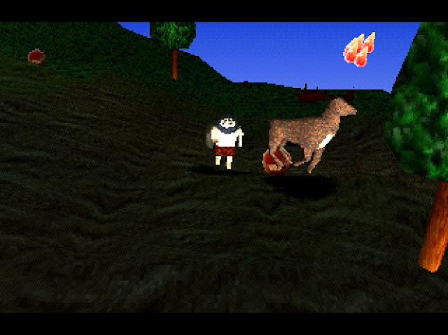 The caveman protagonist hunts a deer in the woods as the sun is rising.