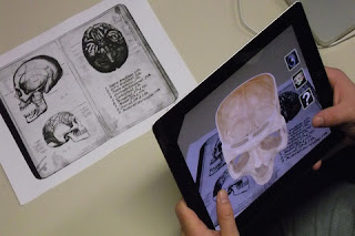 Augmented reality on an Ipad shows a skull for educational use