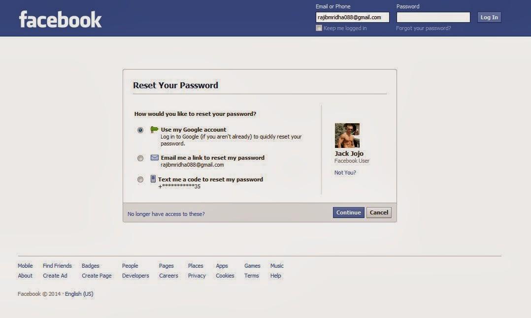 Facebook id reset
