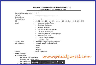 RPPH PAUD Usia 5-6 Tahun Semester 2 Kurikulum 2013 Edisi Revisi 2018