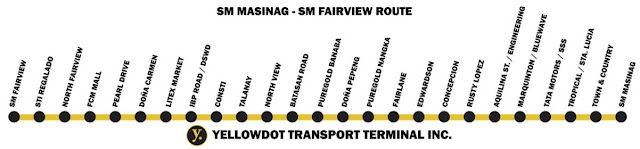 Yellowdot Transport Terminal SM Masinag to SM Fairview Routes
