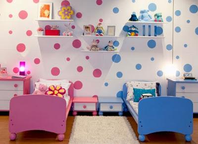 dividindo quarto irmaos azul e rosa