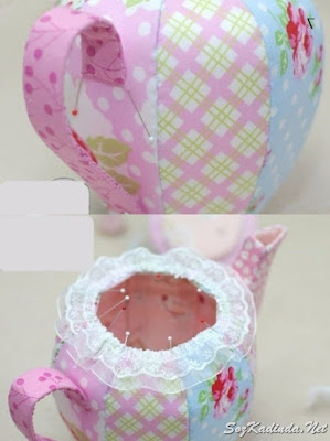 kumaştan süs demlik çaydanlık yapımı