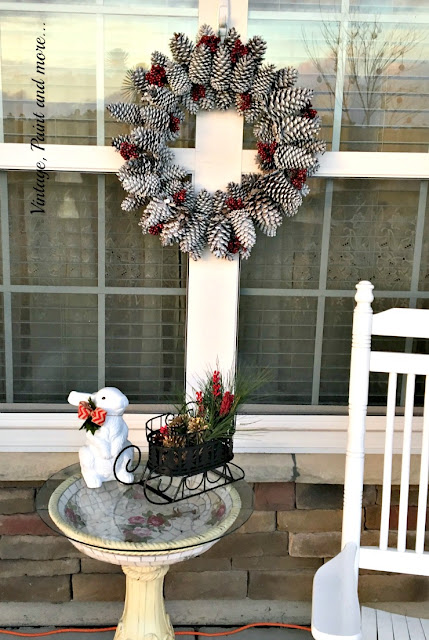Vintage, Paint and more... thrifted and repurposed vintage items used to decorate a porch for Christmas