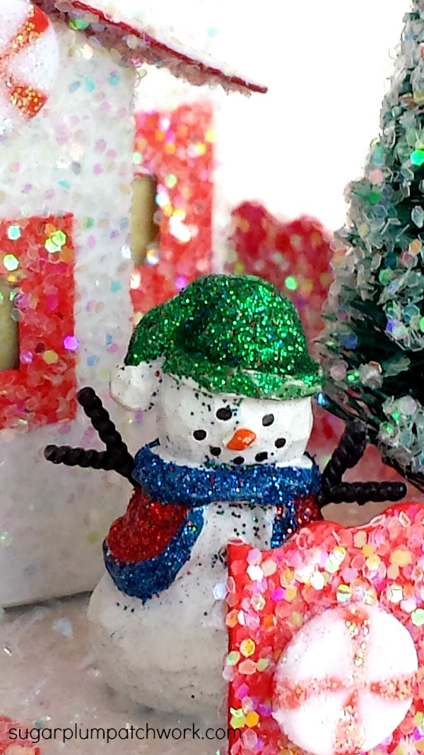 Close up of snowman on glitter house