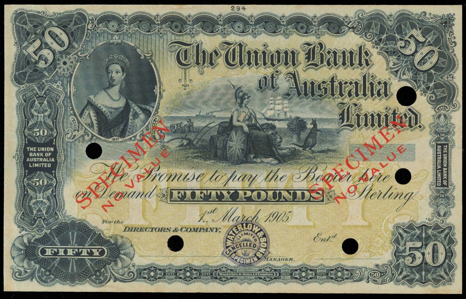 New Zealand banknotes 50 Pound note Queen Victoria