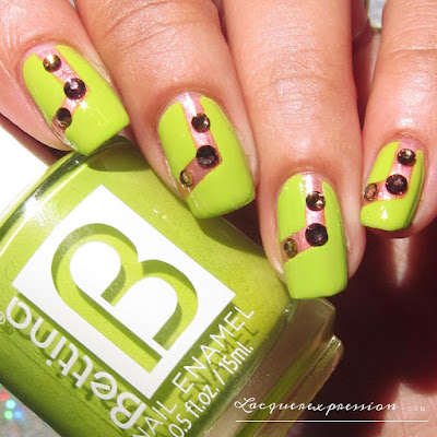 Original nail art design featuring round amethyst and peridot Swarovski nail crystals,  Green Apple by Bettina, Bonne Journee by Rescue Beauty Lounge, and nail vinyls.
