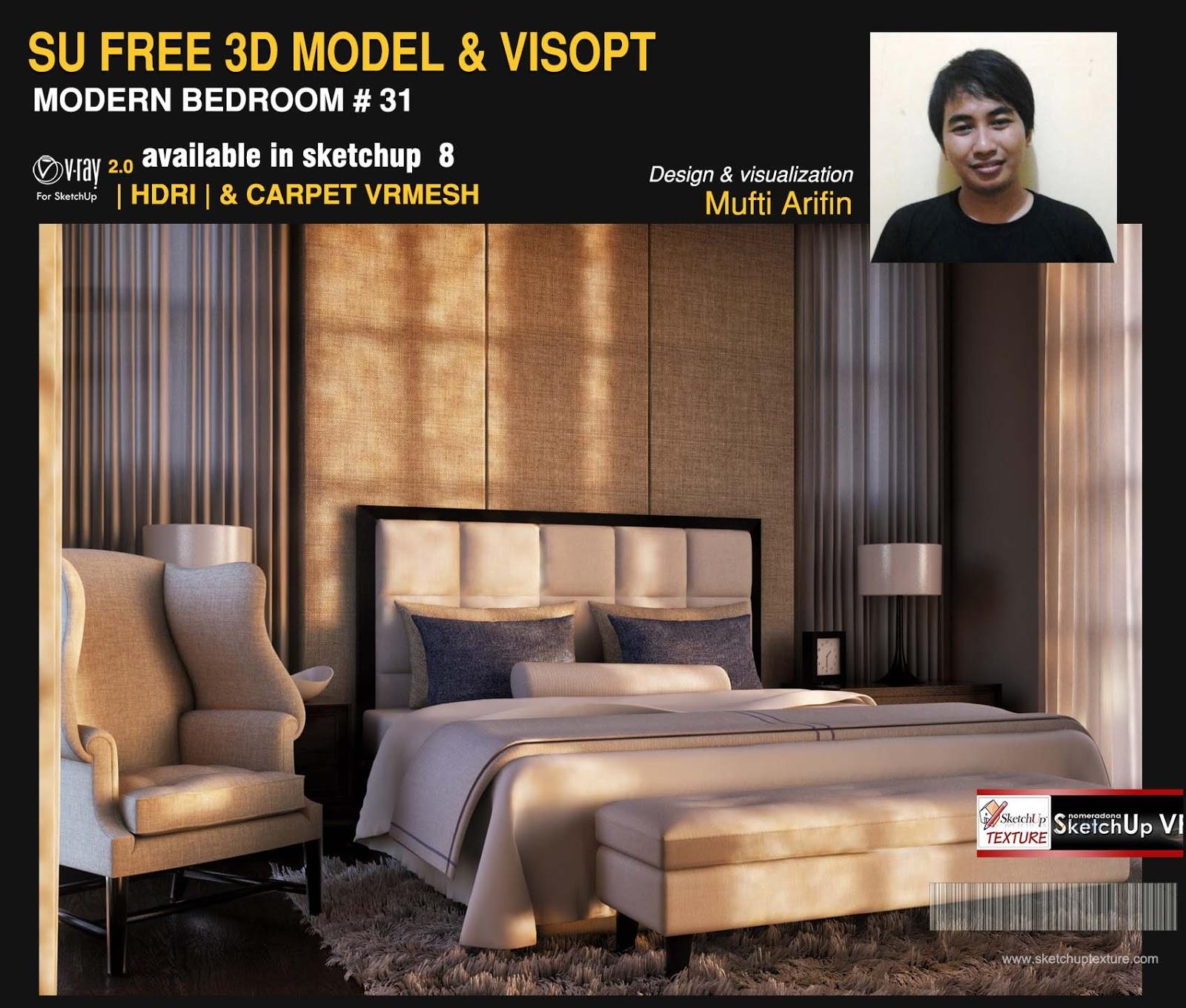 SKETCHUP TEXTURE: free sketchup model modern bedroom #31 & Vray Visopt