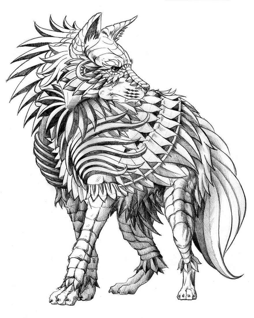 08-Brown-Hyena-WIP-Ben-Kwok-bioworkz-Animals-Drawings-Detailed-with-Elaborate-Geometric-Shapes-www-designstack-co