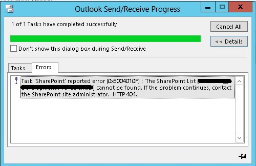SharePoint PitStop: Task 'SharePoint' reported error (0x8004010F
