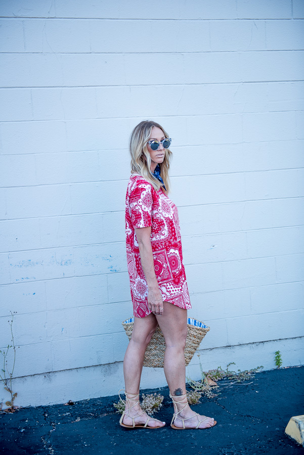 red and white paisley dress