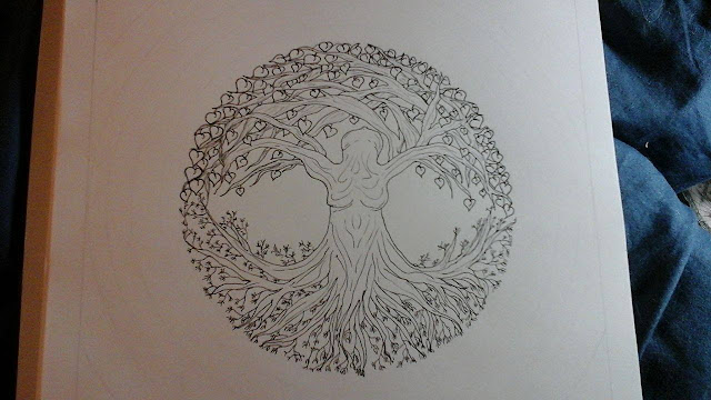 doodleart, doodle art, doodle, doodling, tangling, zentangle, ZIA, zentangle inspired art, tree of life, tree, pagan, art, large art piece,