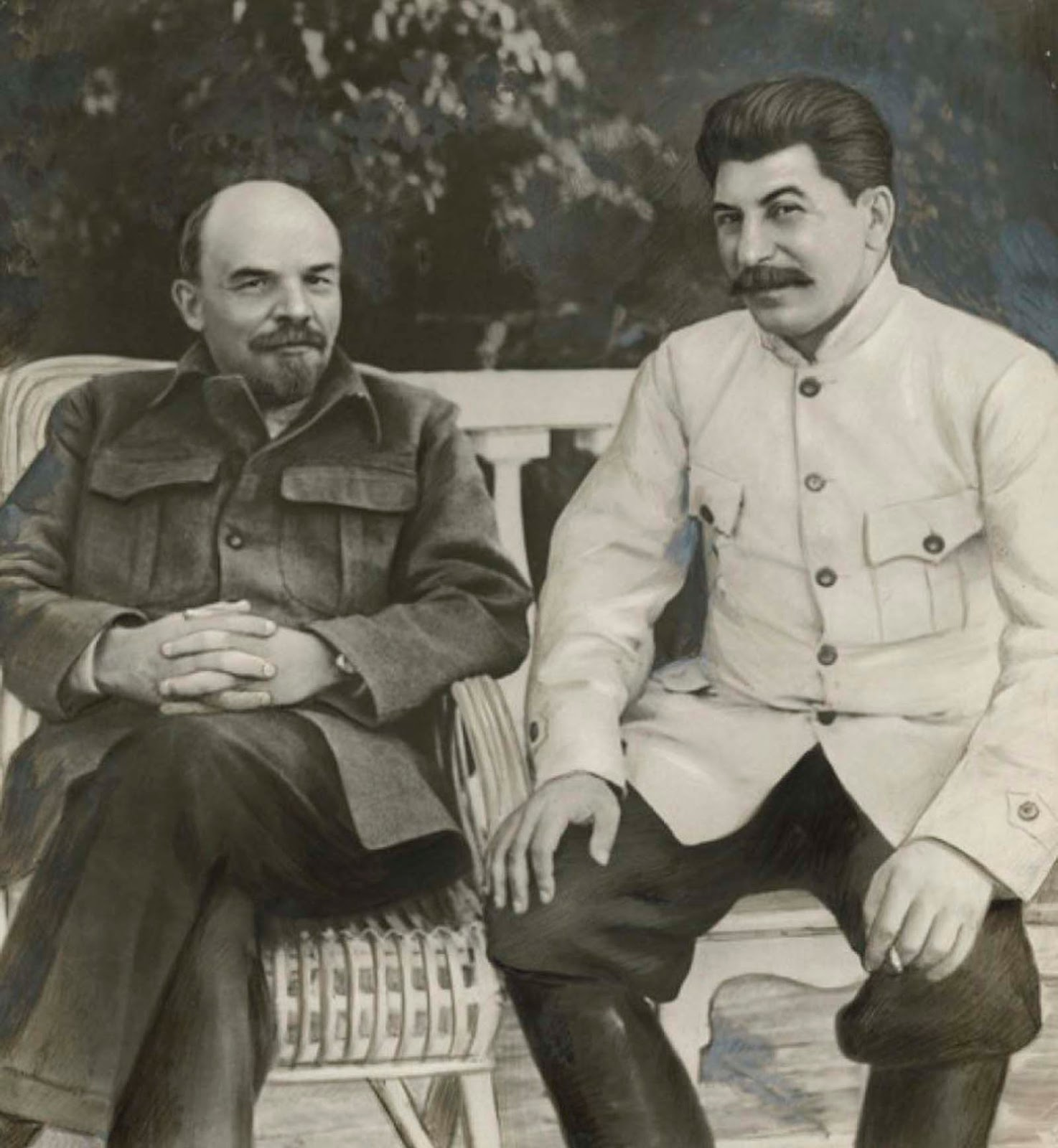 'Lenin and Stalin in Gorki in 1922,