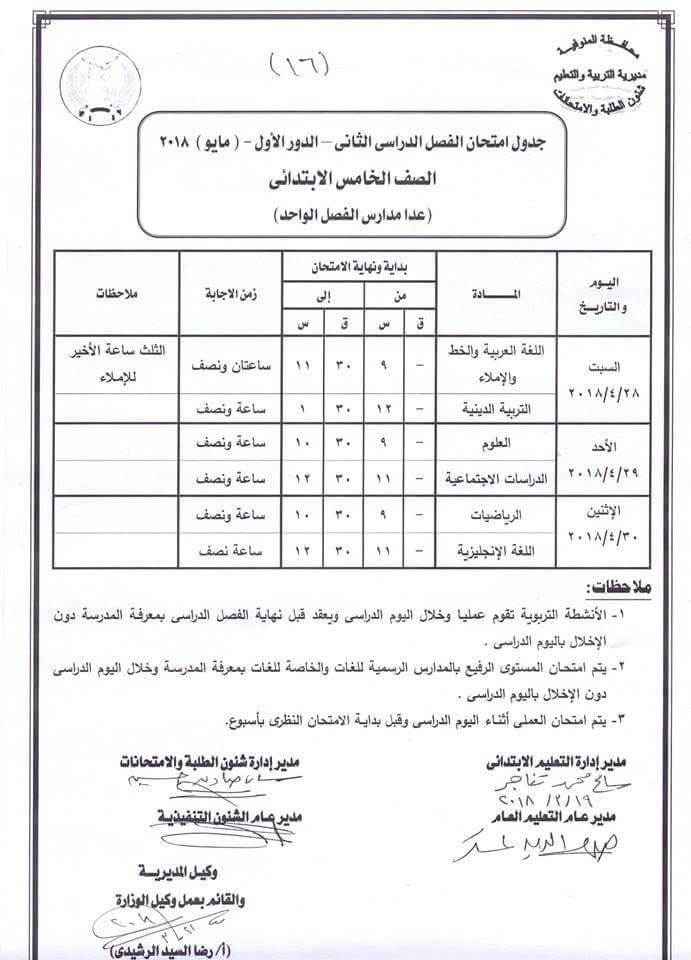 جدول امتحانات الصف الخامس الابتدائي 2018 الترم الثاني محافظة المنوفية