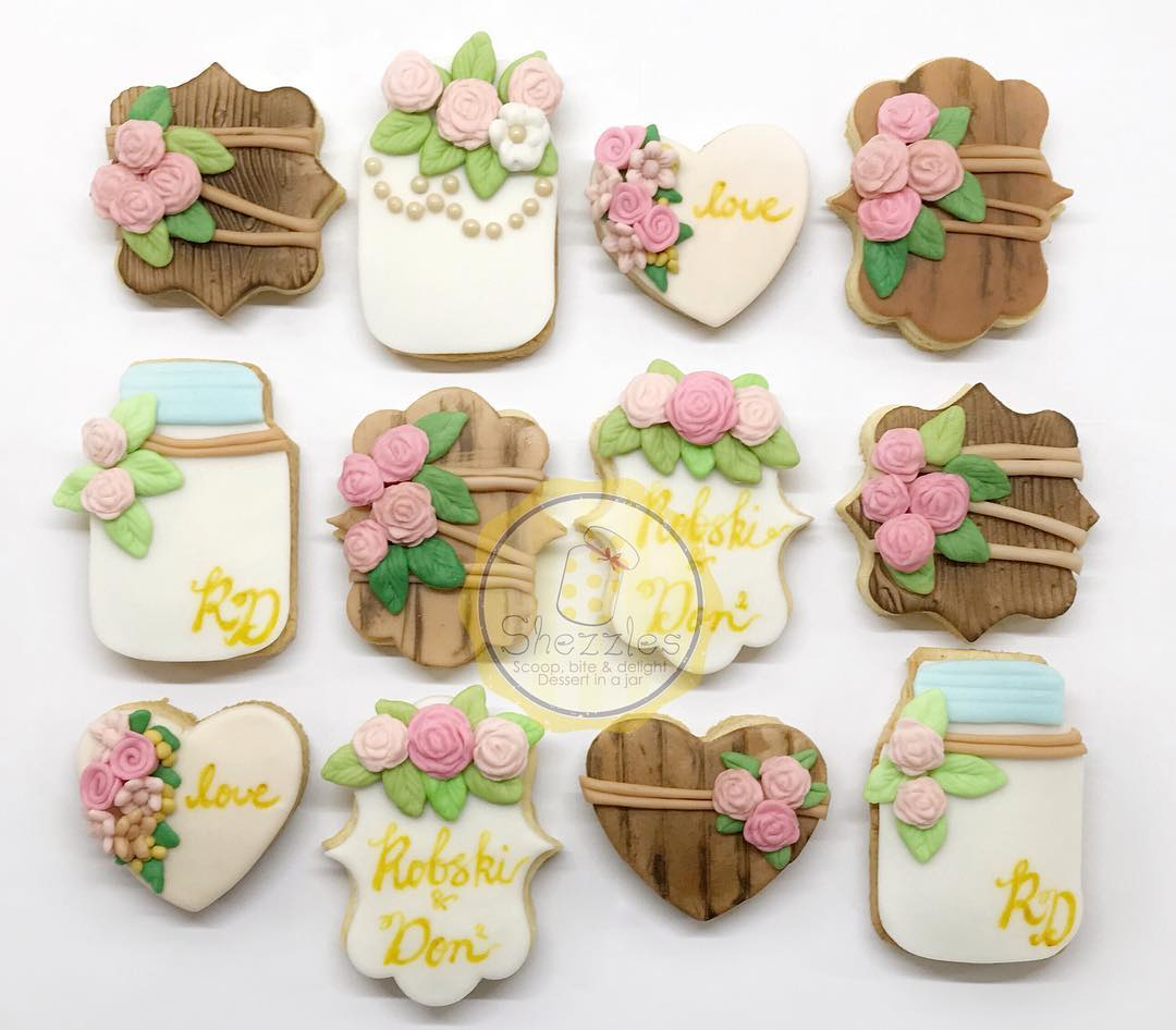 rustic theme bridal shower cookies