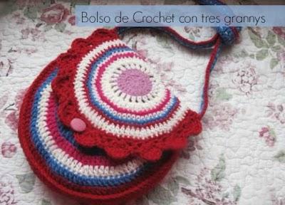 Bolso de crochet circular con 3 grannis tutorial