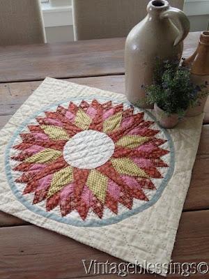 antique starburst quilt piece