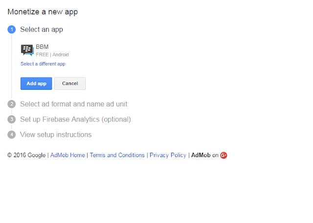 Pilih Applikasi admob